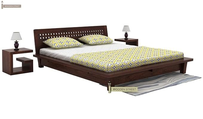 Carden Low Floor Platform Bed (King Size, Walnut Finish)-1