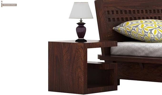 Carden Low Floor Platform Bed (Queen Size, Walnut Finish)-3