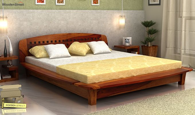 Carden Designed Low Floor Platform Bed (King Size, Honey Finish)-1