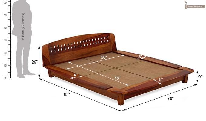 Carden Designed Low Floor Platform Bed (Queen Size, Honey Finish)-7