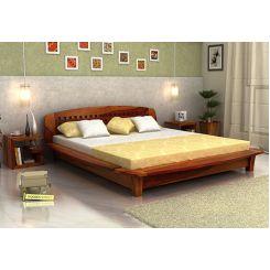 Carden Designed Low Floor Platform Bed (Queen Size, Honey Finish)