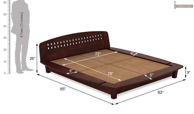 Carden Designed Low Floor Platform Bed (King Size, Mahogany Finish)-9