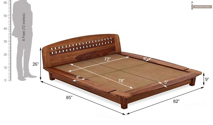 Carden Designed Low Floor Platform Bed (King Size, Teak Finish)-7