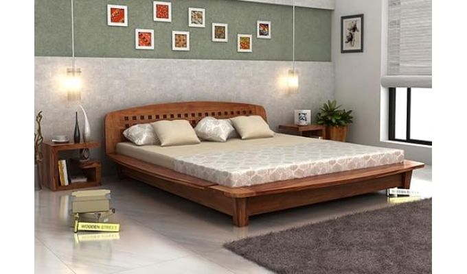 Carden Designed Low Floor Platform Bed (King Size, Teak Finish)-1