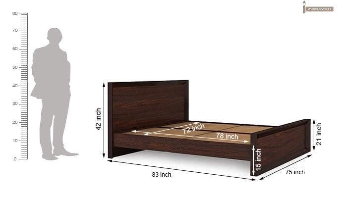 Carvel Bed Without Storage (King Size, Walnut Finish)-9