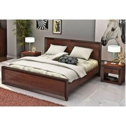Carvel Bed Without Storage (Queen Size, Walnut Finish)