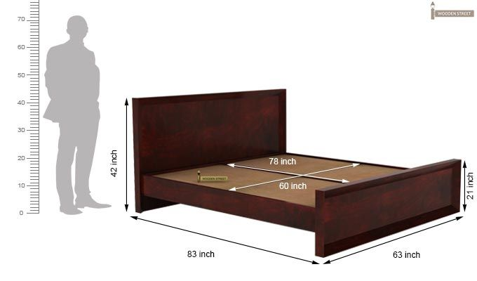 Carvel Bed Without Storage (Queen Size, Mahogany Finish)-5