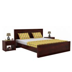 Carvel Bed Without Storage (King Size, Mahogany Finish)