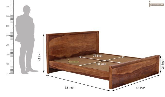 Carvel Bed Without Storage (Queen Size, Teak Finish)-5