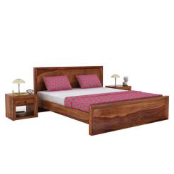 Carvel Bed Without Storage (King Size, Teak Finish)