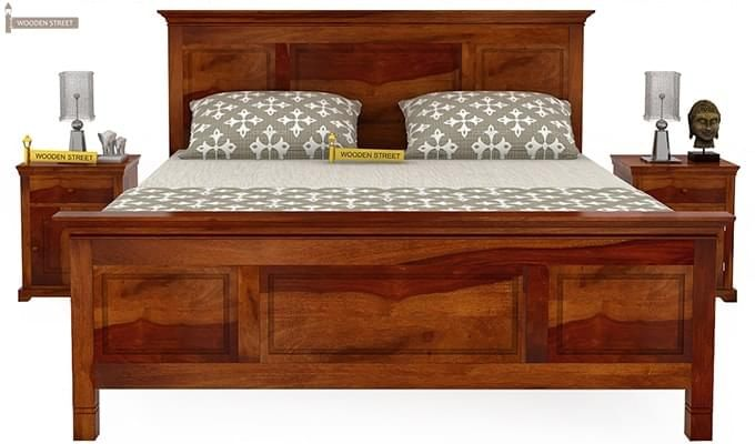Charles Bed Without Storage (King Size, Honey Finish)-3
