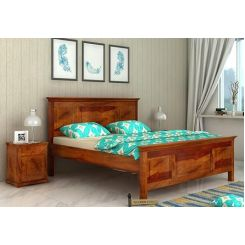 Charles Bed Without Storage (Queen Size, Honey Finish)