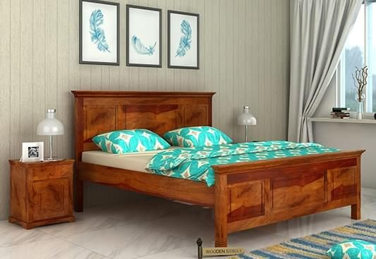 Charles Double bed with large headboard, no storage in queen size and honey finish
