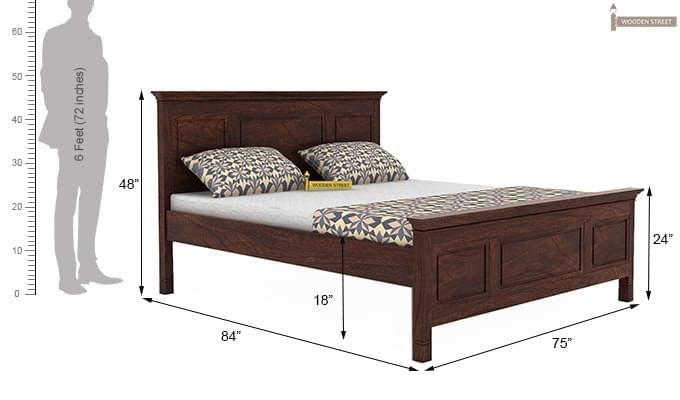 Charles Bed Without Storage (King Size, Walnut Finish)-4