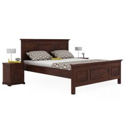 Charles Bed Without Storage (King Size, Walnut Finish)