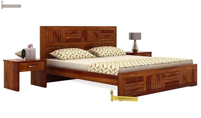 Claudia Bed Without Storage (Queen Size, Honey Finish)-2