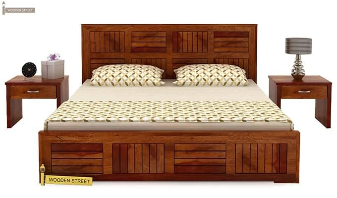 Claudia Bed Without Storage (King Size, Honey Finish)-3