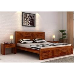 Claudia Bed Without Storage (Queen Size, Honey Finish)
