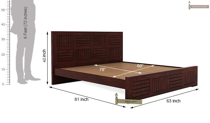 Claudia Bed Without Storage (Queen Size, Mahogany Finish)-8