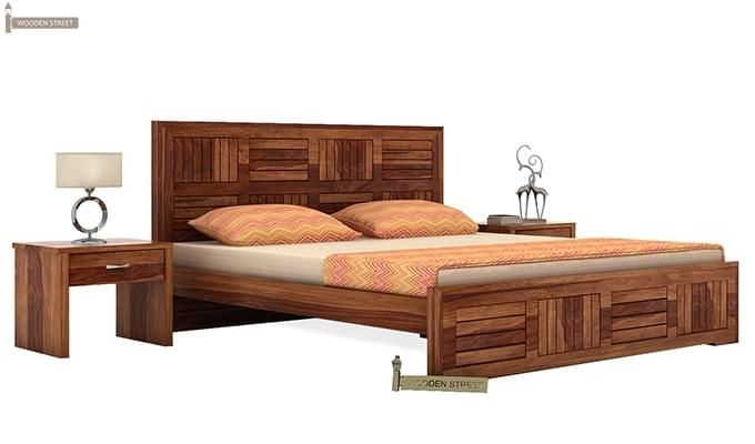 Claudia Bed Without Storage (Queen Size, Teak Finish)-1