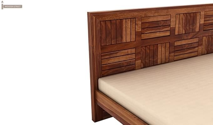 Claudia Bed Without Storage (King Size, Teak Finish)-6