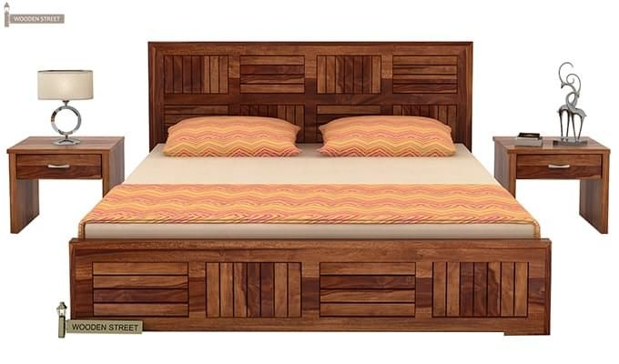 Claudia Bed Without Storage (Queen Size, Teak Finish)-2