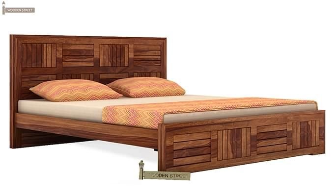 Claudia Bed Without Storage (King Size, Teak Finish)-3