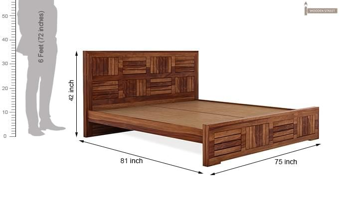 Claudia Bed Without Storage (King Size, Teak Finish)-8