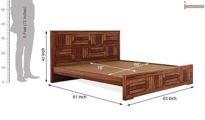 Claudia Bed Without Storage (Queen Size, Teak Finish)-8