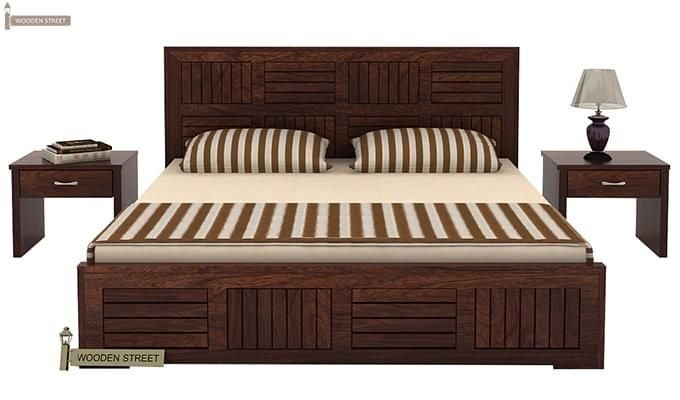 Claudia Bed Without Storage (Queen Size, Walnut Finish)-2
