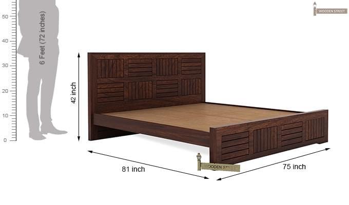 Claudia Bed Without Storage (King Size, Walnut Finish)-8