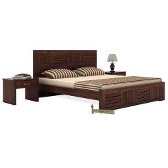 Claudia Bed Without Storage (King Size, Walnut Finish)