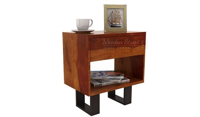 Curtiz Bedside Table (Honey Finish)-3