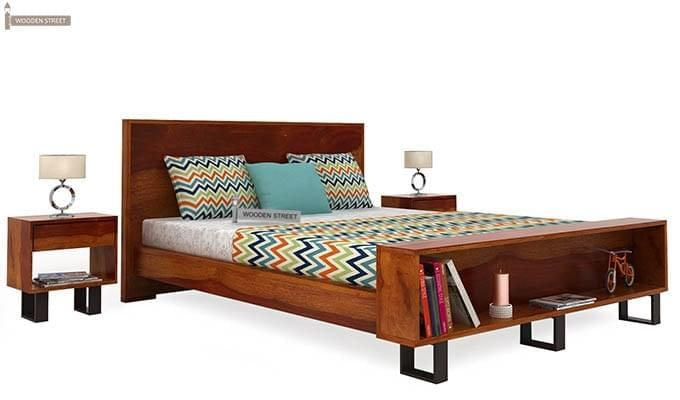 Curtiz Bed Without Storage (King Size, Honey Finish)-2
