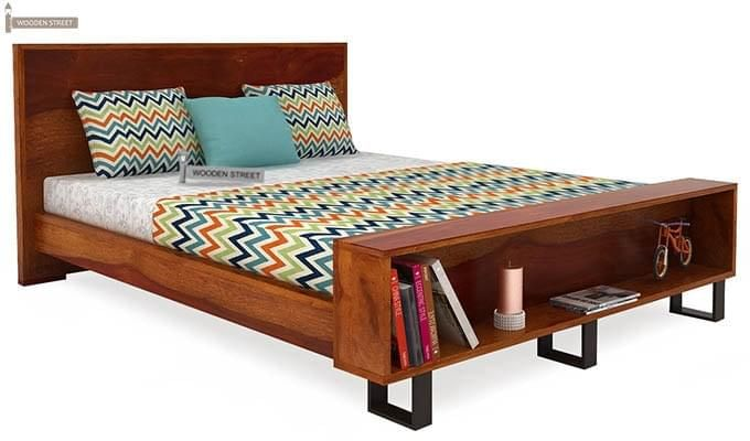 Curtiz Bed Without Storage (King Size, Honey Finish)-4