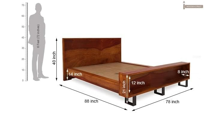 Curtiz Bed Without Storage (King Size, Honey Finish)-9