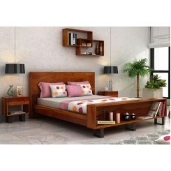 Curtiz Bed Without Storage (Queen Size, Honey Finish)