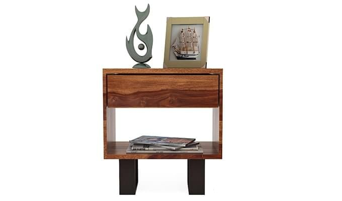 Curtiz Bedside Table (Teak Finish)-2