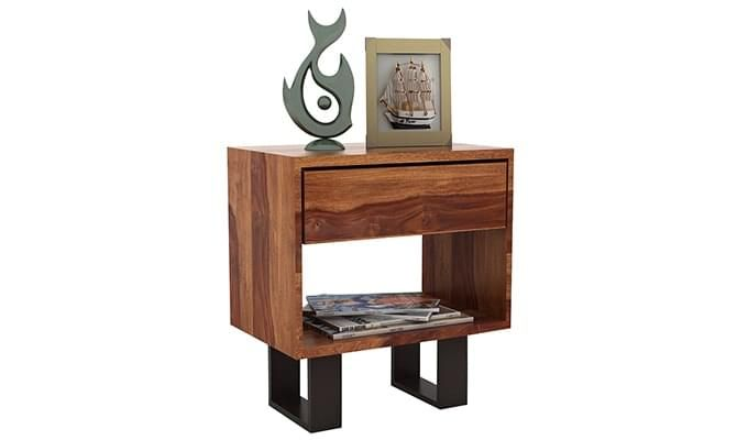 Curtiz Bedside Table (Teak Finish)-4