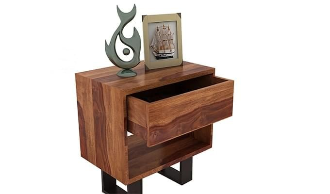 Curtiz Bedside Table (Teak Finish)-3