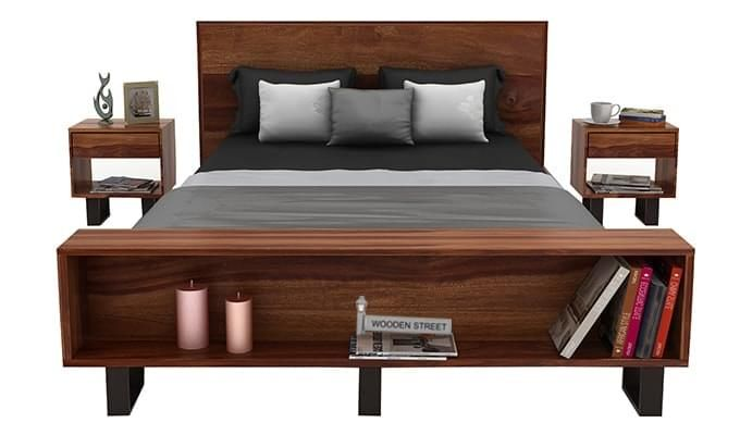 Curtiz Bed Without Storage (Queen Size, Teak Finish)-2
