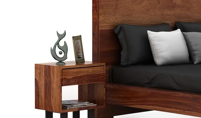 Curtiz Bedside Table (Teak Finish)-1