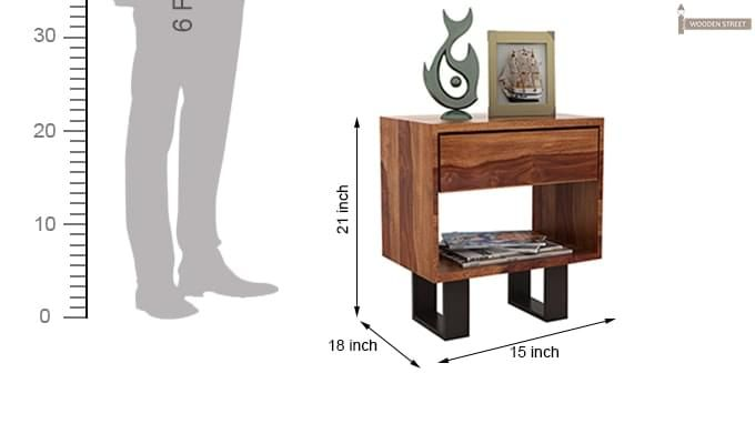 Curtiz Bedside Table (Teak Finish)-5