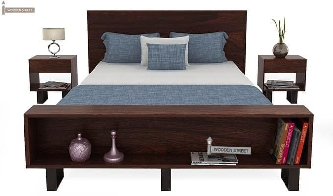 Curtiz Bed Without Storage (Queen Size, Walnut Finish)-2