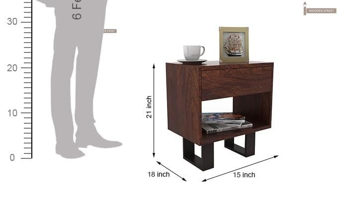Curtiz Bedside Table (Walnut Finish)-5