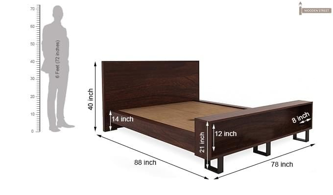 Curtiz Bed Without Storage (Queen Size, Walnut Finish)-8