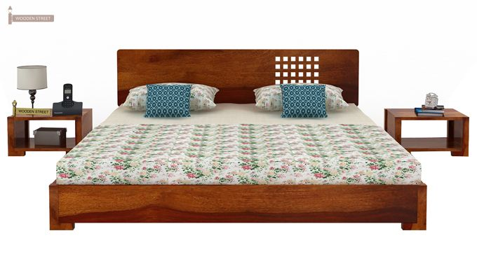 Damon Low Floor Double Bed (King Size, Honey Finish)-2
