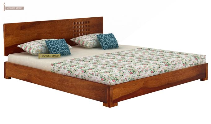 Damon Low Floor Double Bed (King Size, Honey Finish)-3