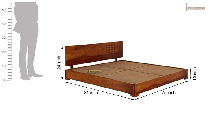 Damon Low Floor Double Bed (King Size, Honey Finish)-5