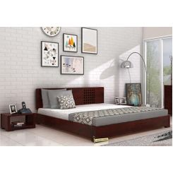Damon Low Floor Double Bed (Queen Size, Mahogany Finish)